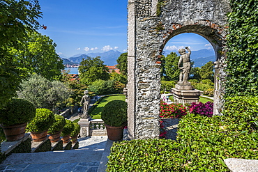 View from Floral Fountains, Isola Bella, Borromean Islands, Lake Maggiore, Piedmont, Italian Lakes, Italy, Europe