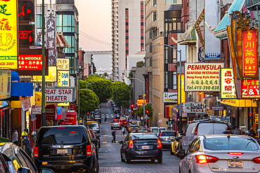View of neon lights on busy street in Chinatown, San Francisco, California, United States of America, North America