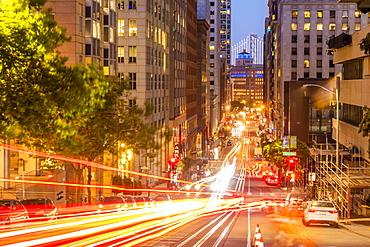 View of California Street and Oakland Bay Bridge at dusk, San Francisco, California, United States of America, North America