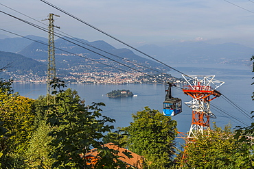 View of Cableway Stresa Mottarone and Lake Maggiore from elevated position above Stresa, Piedmont, Italian Lakes, Italy, Europe