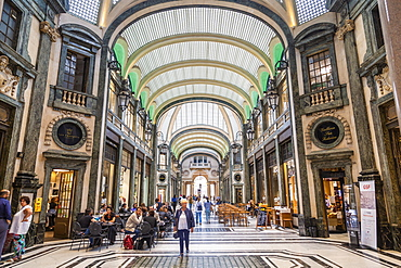 View of interior of Galleria San Federico near San Carlo Square, Turin, Piedmont, Italy, Europe