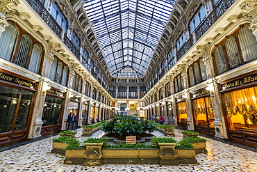 Interior view of Galleria Subalpina near Piazza Castello, Turin, Piedmont, Italy, Europe