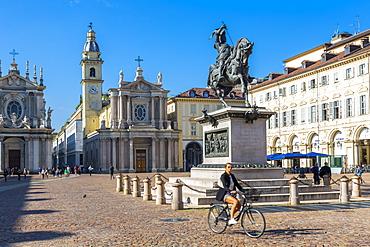 View of Emanuele Filiberto statue in Piazza San Carlo, Turin, Piedmont, Italy, Europe