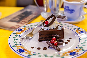 Signature chocolate cake and coffee in Confetteria Buratti and Milano, Piazza Castello, Turin, Piedmont, Italy, Europe