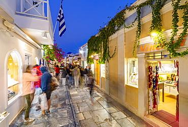 View of Oia village street at dusk, Santorini, Cyclades, Aegean Islands, Greek Islands, Greece, Europe