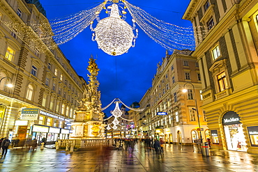 View of Christmas Lights on Graben at dusk, Vienna, Austria, Europe