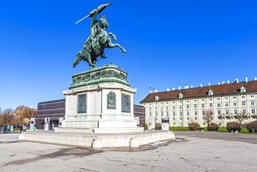 View of Erzherzog Karl - Equestrian Statue in Heldenplatz, Vienna, Austria, Europe