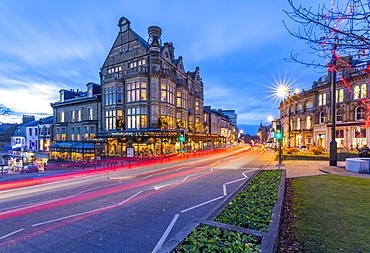 View of Parliament Street at Christmas, Harrogate, North Yorkshire, England, United Kingdom, Europe