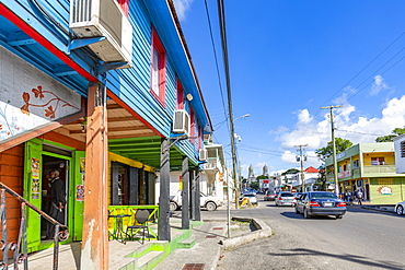 View of shop and Cathedral on Newgate Street, St. John's, Antigua, West Indies, Caribbean, Central America
