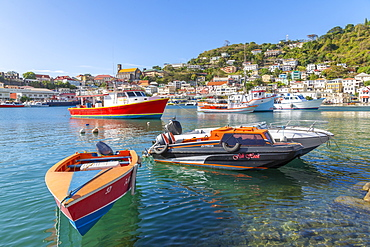 Colourful boats and houses on the Carenage of St. George's, Grenada, Windward Islands, West Indies, Caribbean, Central America