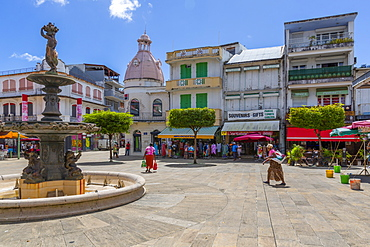 View of Spice Market Square and fountain, Pointe-a-Pitre, Guadeloupe, French Antilles, West Indies, Caribbean, Central America