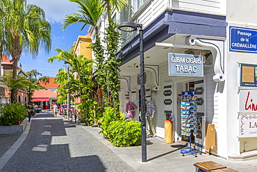 View of shops and buildings in town, Gustavia, St. Barthelemy (St. Barts) (St. Barth), West Indies, Caribbean, Central America