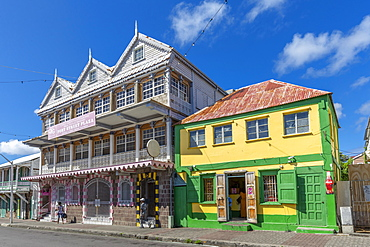 View of ornate and colourful architecture, Basseterre, St. Kitts and Nevis, West Indies, Caribbean, Central America