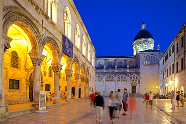 Rector's Palace and Cathedral at dusk, UNESCO World Heritage Site, Dubrovnik, Dalmatian Coast, Dalmatia, Croatia, Europe