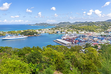 Elevated view of Castries, Castries, St. Lucia, West Indies, Caribbean, Central America