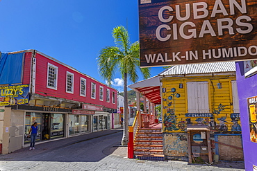View of shops and buildings on Front Street, Philipsburg, St. Maarten, Leeward Islands, West Indies, Caribbean, Central America
