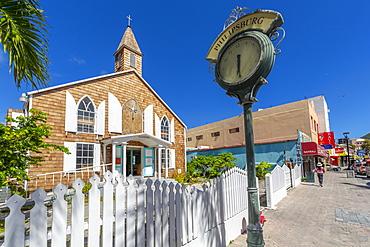 View of Methodist Church on Front Street, Philipsburg, St. Maarten, Leeward Islands, West Indies, Caribbean, Central America