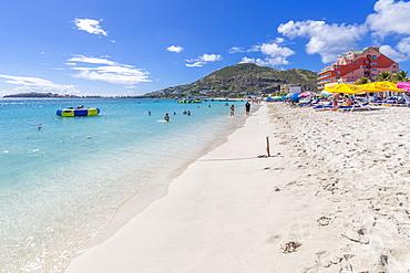 View of beach and Caribbean Sea, Philipsburg, St. Maarten, Leeward Islands, West Indies, Caribbean, Central America
