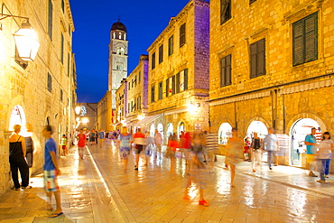 Stradun at dusk, UNESCO World Heritage Site, Dubrovnik, Dalmatian Coast, Dalmatia, Croatia, Europe