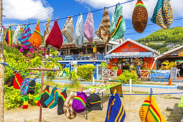 Colourful shops in Port Elizabeth, Admiralty Bay, Bequia, The Grenadines, St. Vincent and the Grenadines, Windward Islands, West Indies, Caribbean, Central America