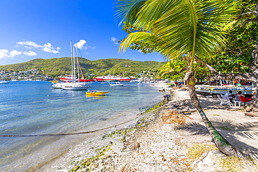 Sailing boats anchoring in Port Elizabeth, Admiralty Bay, Bequia, The Grenadines, St. Vincent and the Grenadines, Windward Islands, West Indies, Caribbean, Central America