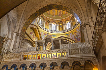 View of Church of the Holy Sepulchre interior in Old City, Old City, UNESCO World Heritage Site, Jerusalem, Israel, Middle East