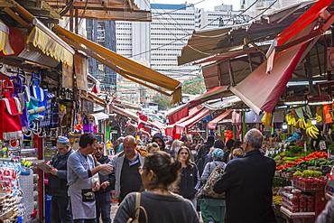 View of Had veHalak Market on Ha Carmel Street, Tel Aviv, Israel, Middle East