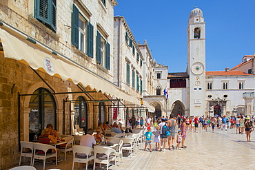 Clocktower and cafe, Dubrovnik, Dalmatia, Croatia, Europe
