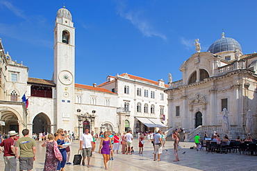 Stradun Clocktower, Dubrovnik, Dalmatia, Croatia, Europe