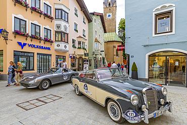 View of vintage car rally Vorderstadt, Kitzbuhel, Austrian Tyrol Region, Austria, Europe
