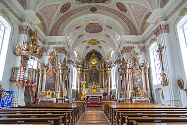 View of interior of Dekanatspfarrkirche in St. Johann in Tirol, Austrian Tyrol, Austria, Europe