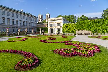 View of Parish Church St. Andra from Mirabell Gardens, UNESCO World Heritage Site, Salzburg, Austria, Europe