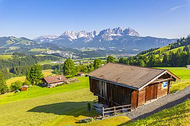 View of Wilder Kaiser from elevated position near Kitzbuhel, Kitsbuhel, Austrian Alps, Tyrol, Austria, Europe