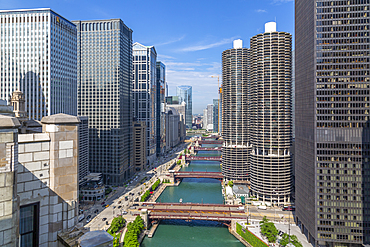 View of Chicago River from rooftop terrace, Downtown Chicago, Illinois, United States of America, North America
