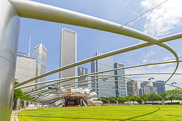 View of Jay Pritzker Pavilion, Millennium Park, Downtown Chicago, Illinois, United States of America, North America