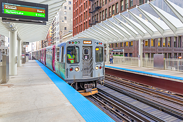 View of Loop train at station, Downtown Chicago, Illinois, United States of America, North America