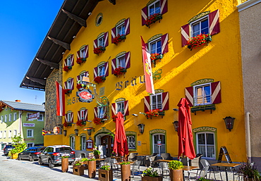 View of colourful traditional hotel on main street in Radstadt, Styria, Austria, Europe