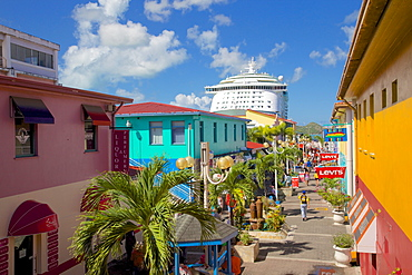 Heritage Quay and cruise ship in port, St. Johns, Antigua, Leeward Islands, West Indies, Caribbean, Central America