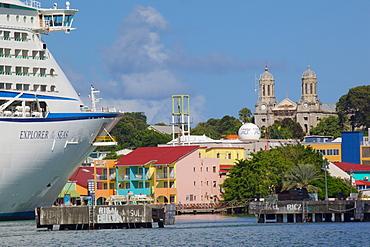 Cruise ship in port, St. Johns, Antigua, Leeward Islands, West Indies, Caribbean, Central America