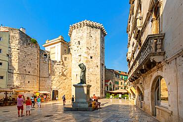 View of Venetian Tower in Fruit Square, Split, Dalmatian Coast, Croatia, Europe
