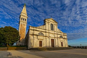 View of Cathedral of St. Euphemia at sunset, Rovinj, Istria, Croatia, Adriatic, Europe