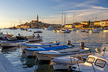 View of harbour and the old town with the Cathedral of St. Euphemia at sunset, Rovinj, Istria, Croatia, Adriatic, Europe