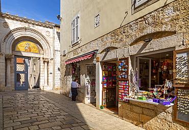 View of entrance to Euphrasian Basilica, old town, Porec, Istria, Croatia, Europe