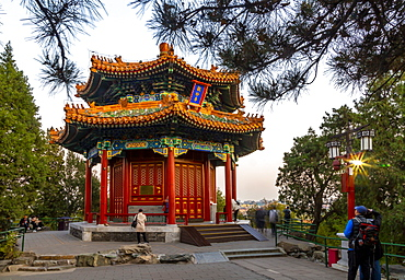 View of the Guanmiao Pavilion in Jingshan Park at sunset, Xicheng, Beijing, People's Republic of China, Asia