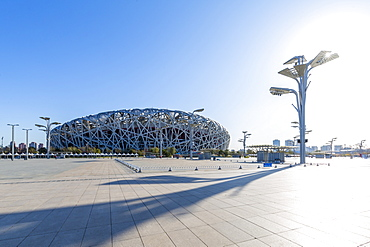 View of the National Stadium (Bird's Nest), Olympic Green, Xicheng, Beijing, People's Republic of China, Asia