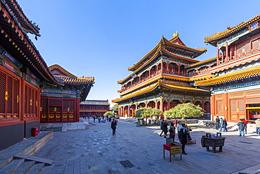 View of Ornate Tibetan Buddhist Lama Temple (Yonghe Temple), Dongcheng, Beijing, People's Republic of China, Asia