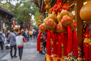 Chinese souvenirs in Kuanxiangzi Alley, Chengdu, Sichuan Province, People's Republic of China, Asia