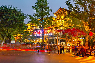 Street lights on Kuanxiangzi Alley at night in Chengdu, Sichuan Province, People's Republic of China, Asia