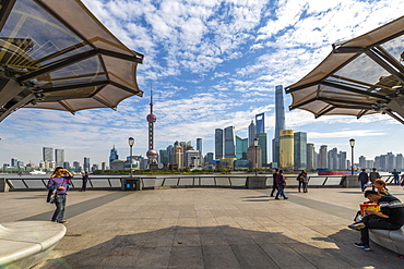 View of Pudong Skyline and Huangpu River from the Bund, Shanghai, China, Asia