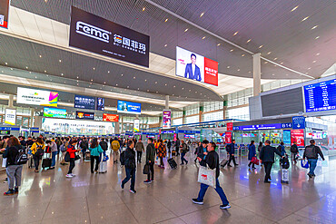 View of interior of Chengdu Railway Station, Chengdu, Sichuan, China, Asia